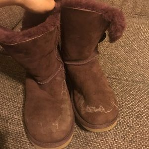 UGG PURPLE BAILEY BUTTON Suede Shearling Lined US6